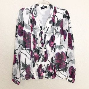 EUC Karl Lagerfeld rose print tie neck blouse